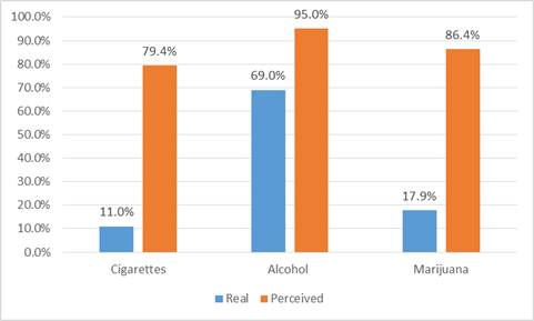 Figure 3 Real and Perceived Incidence of Smoking